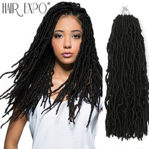 18inch Goddess Faux Loc Crochet Hair Synthetic Soft Messy Boho Ombre Braiding Hair Extension Natural Look Nu Locs Hair Expo City