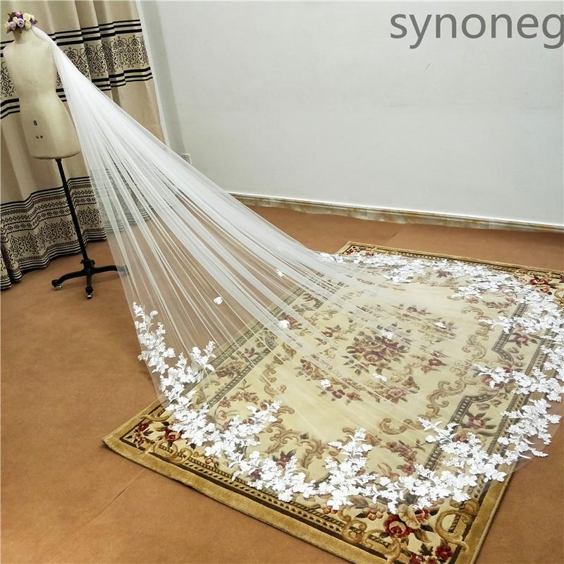 3 metra jednoslojni vjenčani veo s češljem bijeli čipkasti rub - Vjenčanje pribor - Foto 3