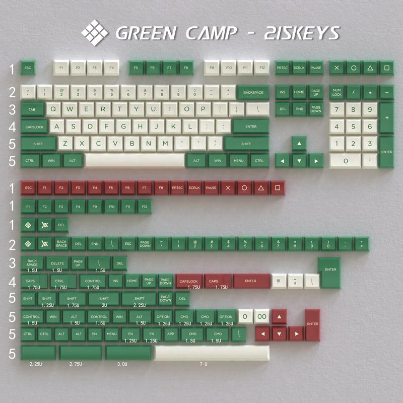 Osa keycap pbt material verde acampamento cor combinando 215 chave processo de moldagem de duas cores