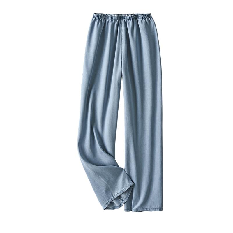 Shuchan Loose Wide Leg Pants  Elastic Waist  Softener  Full Length  Lyocell Summer Streetwear Women Jeans  MID Waist