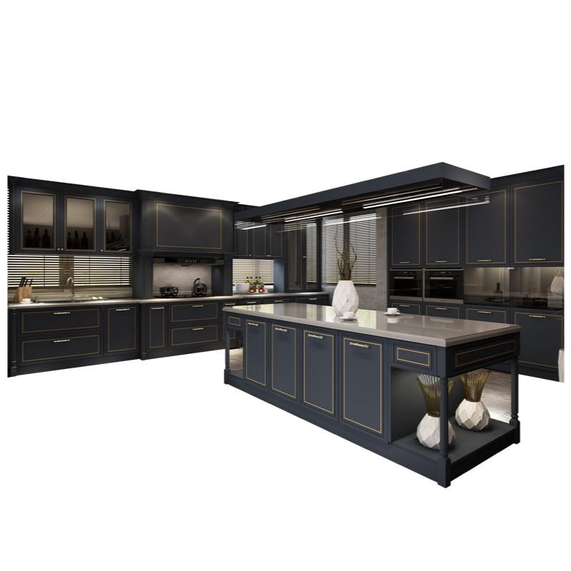 خزانة كاملة مخصصة مطبخ ديكورات منزلية كاملة حجر الكوارتز منضدية خزانة مطبخ مصنوعة حسب الطلب مفتوحة الأوروبية الفاخرة