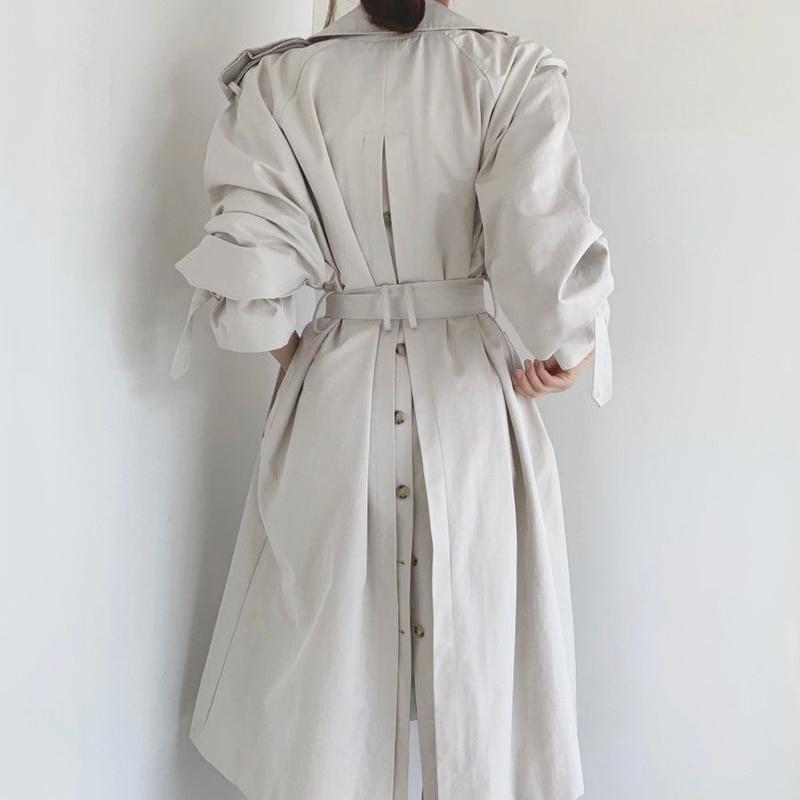 Pinkou Women Elegant Basic Long Trench Coat Double Breasted Belt Long Sleeve Back Buttons Fashion Ja