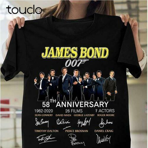 James bond 007 54th anniversary 7 actors cast signed gift fan movie shirt S-3XL