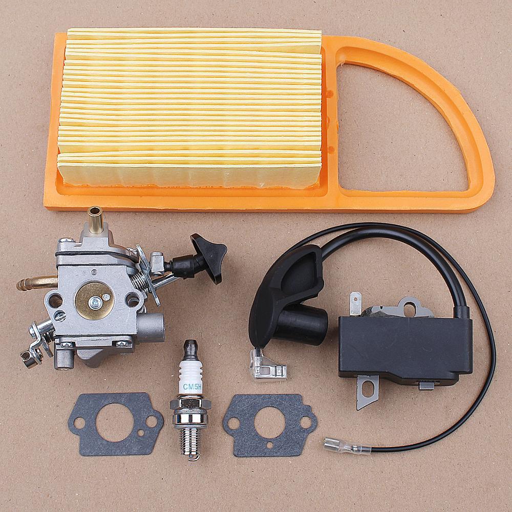 ignition coil fits st br500 br550 br600 backpack leaf blower free shipping magneto module stator parts p n 4282 400 1305 Ignition Coil Carburetor Spark Plug Kit for Stihl BR600 BR500 BR550 Zama C1Q-S183 Leaf Blower CARB Parts