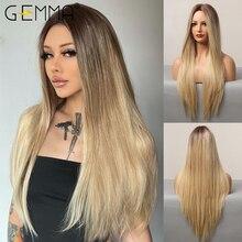 GEMMA-peluca larga y recta Natural para mujer, pelo sintético resistente al calor, degradado, marrón, Rubio, dorado, fiesta de Cosplay