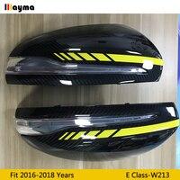 W213 For AMG yellow line Style Carbon Fiber replace Mirror cover For Benz E class E200 E300 E400 2016 - 2019 LHD rear mirror cap