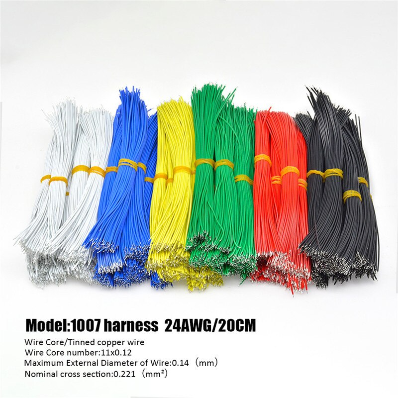 100 unids/pack 20cm Cable estañado doble UL1007 24AWG Alambre de soldadura 6 colores Cable de puente Cable estaño Conductor cables PCB Cable de soldadura