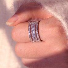 New Design Geometric Zircon Female Ring 2019 Fashion Small Zircon Crystal Wedding Feminine Jewelry Gift