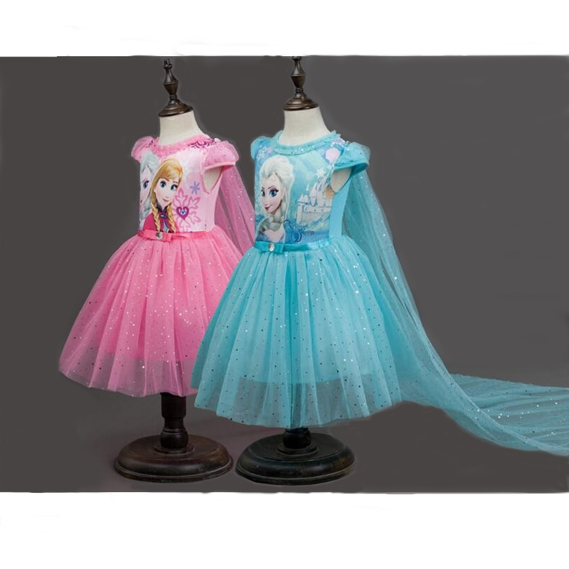 Meninas vestido de neve rainha vestidos de princesa dos desenhos animados cosplay elsa anna vestidos para meninas vestido de festa de aniversário traje crianças roupas