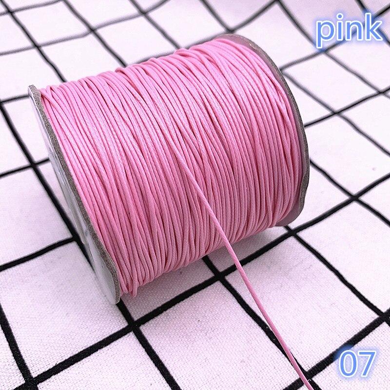 Cordón encerado rosa de 0,5-2,0mm, correa de cuerda de rosca encerada, collar, cordón de cuerda DIY, fabricación de joyas para pulsera Shamballa
