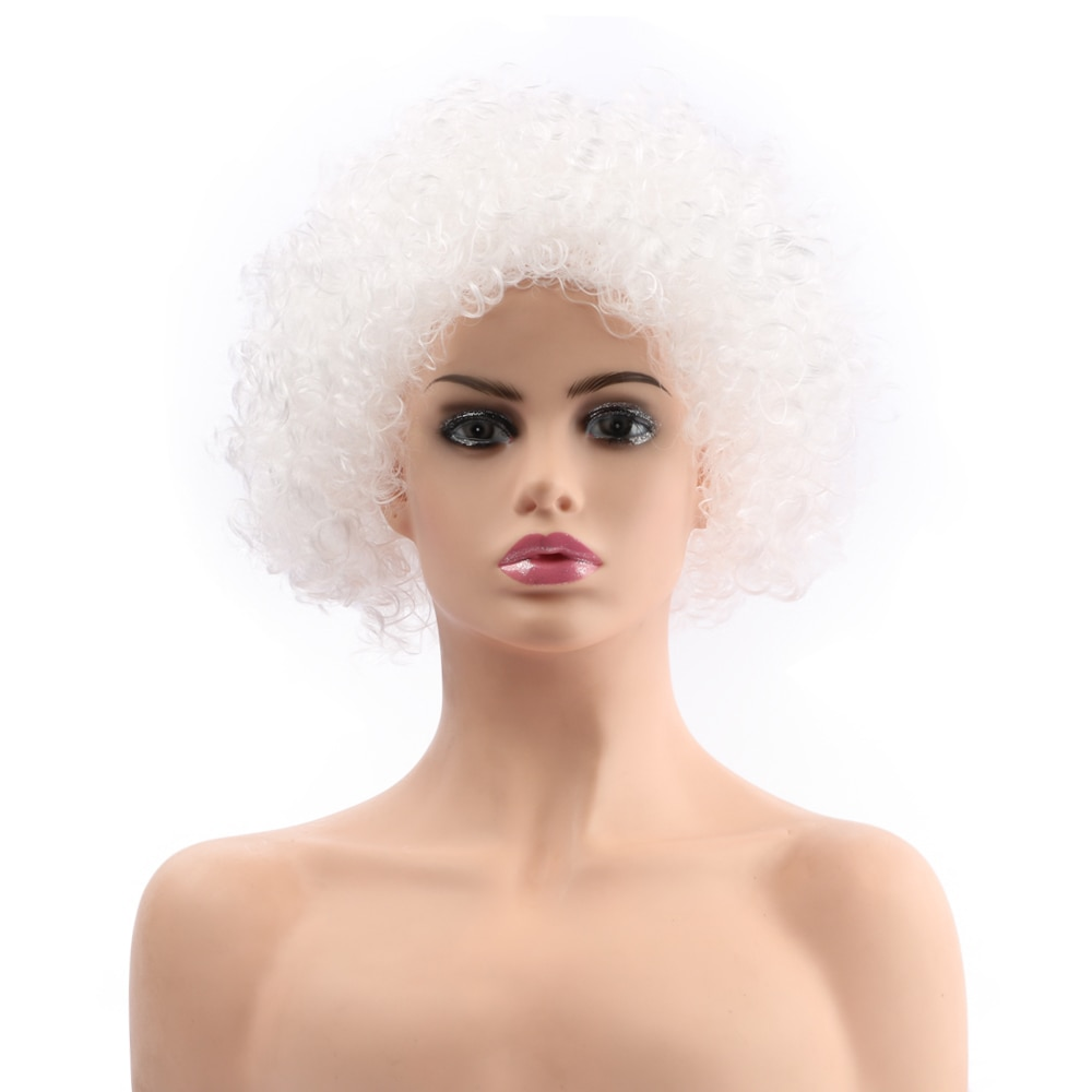 "Belleza 12 ""corto sintético blanco retro jipi 70s 80s Disco Fluffy Fancy divertido payaso peluca Afro para fiesta de Navidad de Halloween"
