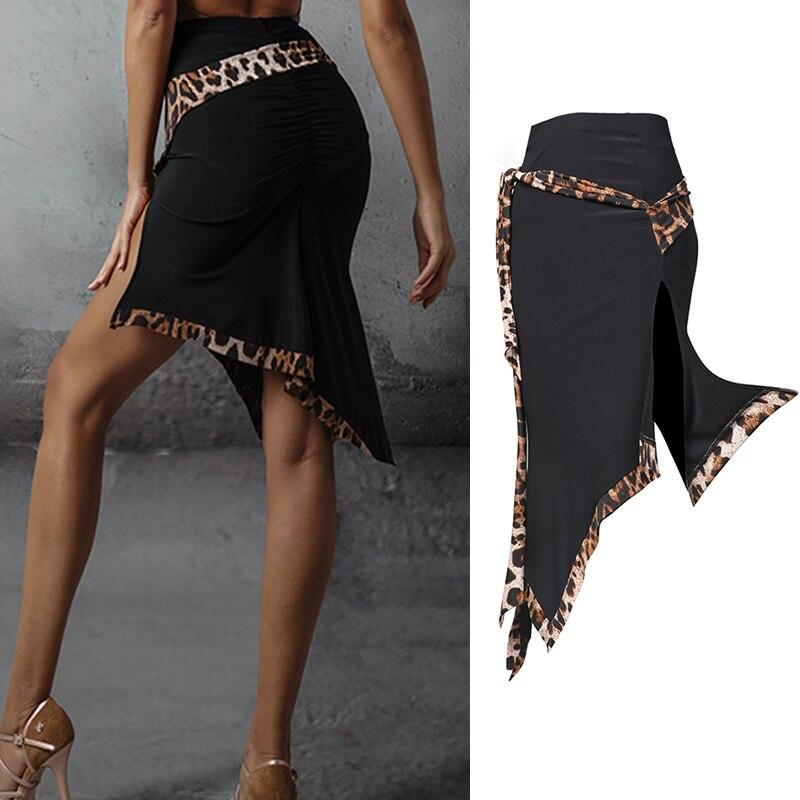 Nueva falda de baile latino Sexy falda con estampado de leopardo ropa de entrenamiento de Danza Latina profesional mujer Cha Rumba Samba vestido SL2904