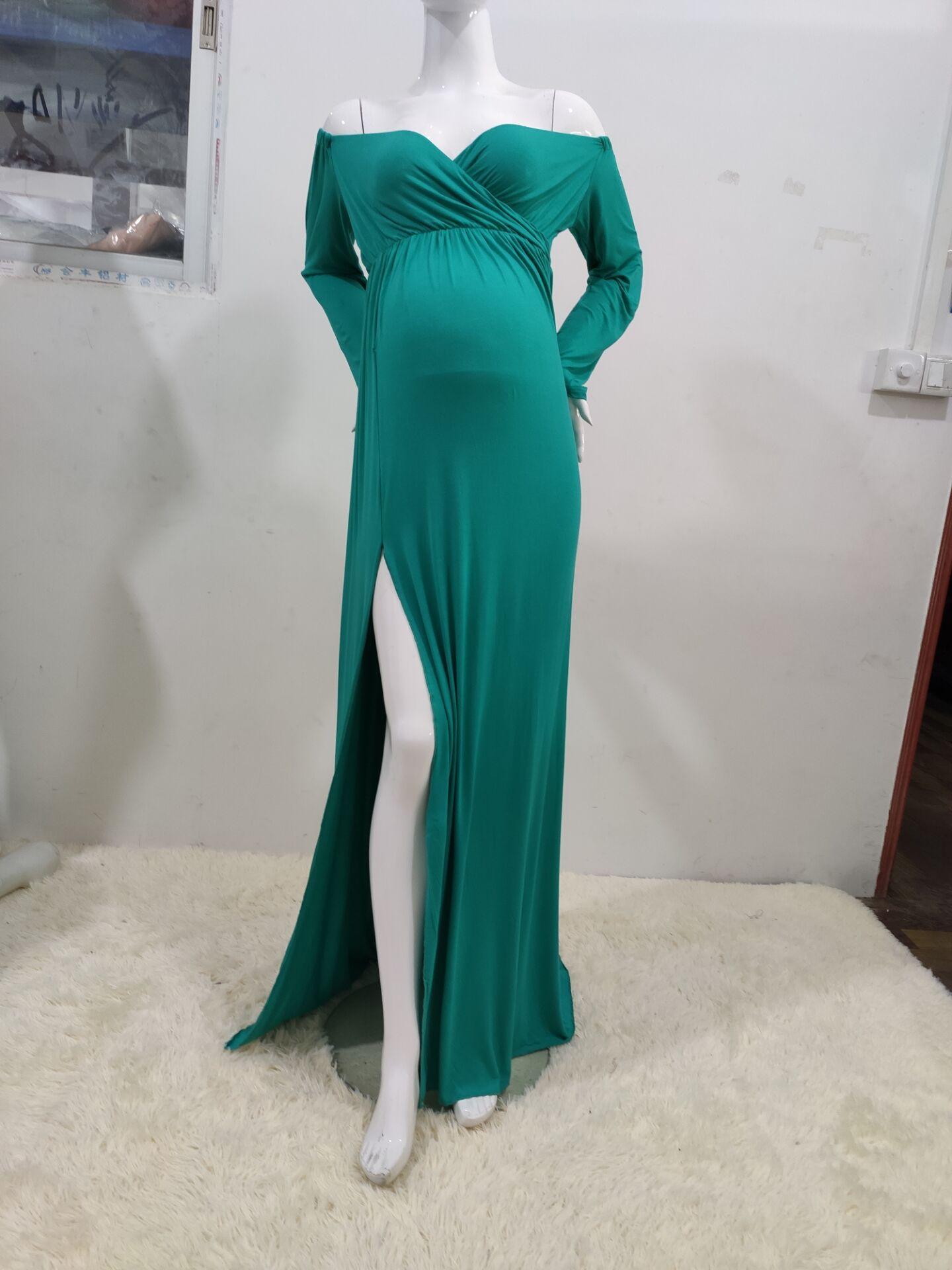 Photo Shoot Long Pregnancy Slit Open Dress Maternity Maxi Gown Slash Neck Maternity Photography Dresses Sukienka Ciazowa enlarge