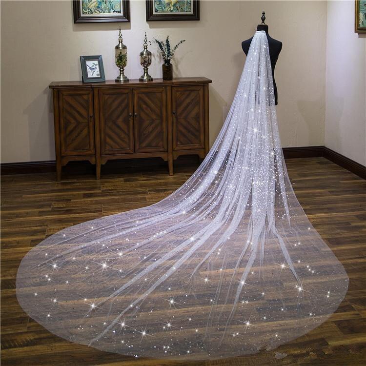 Vestido de velo para boda Catedral de 4 metros vestido de novia Satrs brillante blanco marfil tul suave tul blanco marfil una capa