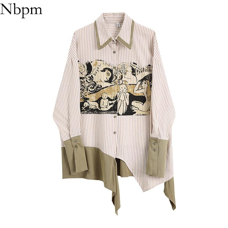 Nbpm Women Blouses Fashion 2021 Patchwork Art Printing Women's Blouse Striped Shirt Long Sleeve Blouses Elegant Top Female Loose