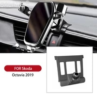 cute car air vent mount phone holder mobile phone stable cradle smart phone stand for skoda octavia mk3 2015 2016 2017 2018 2019