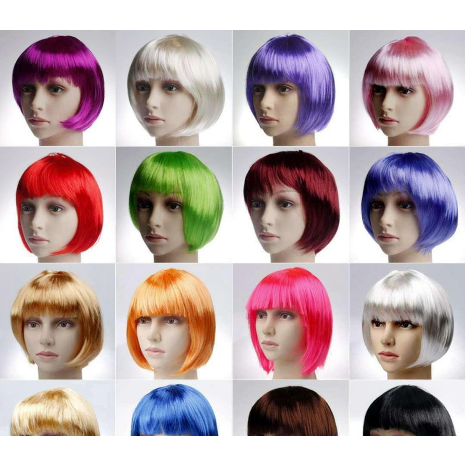 12PCS Colorful Short Bob Wigs, Great Gifts for Your Girlfriend and Female Friends, Especially Those Who are Cosplay Lovers
