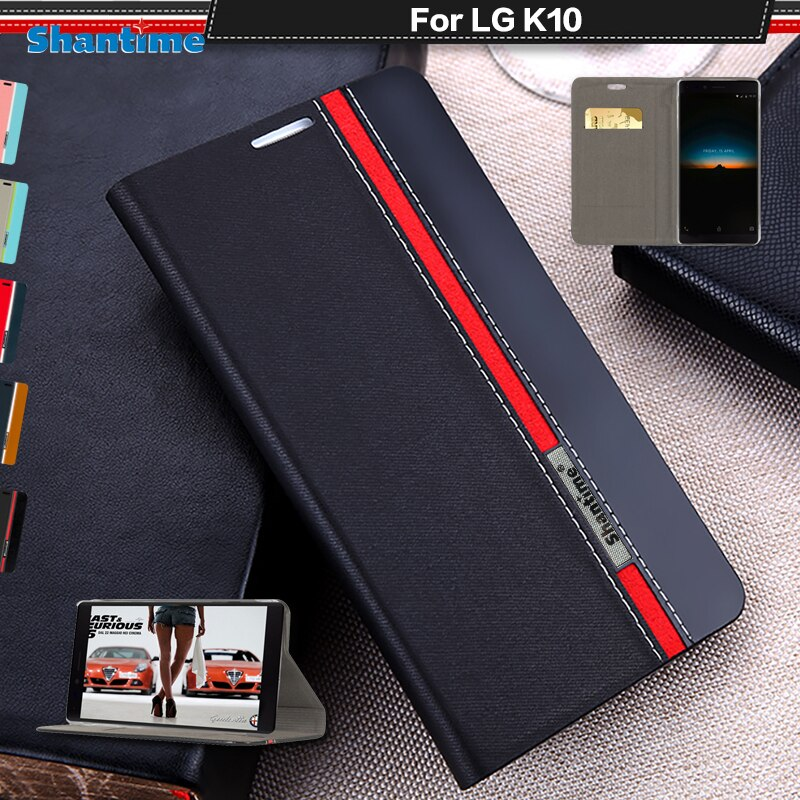 Funda de libro para LG K10 2016, lujosa funda tipo billetera de cuero PU para LG K10 LTE M2 K420N K430 K430ds, funda trasera blanda de silicona