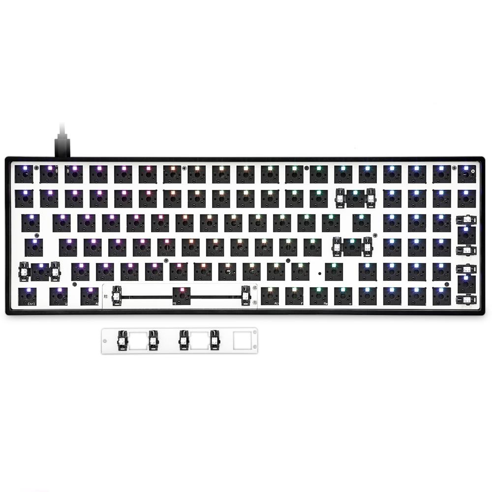 Gk96 gk96x الساخن تبديل مخصص الميكانيكية لوحة المفاتيح عدة دعم rgb التبديل المصابيح نوع c البرمجيات للبرمجة أسود أبيض