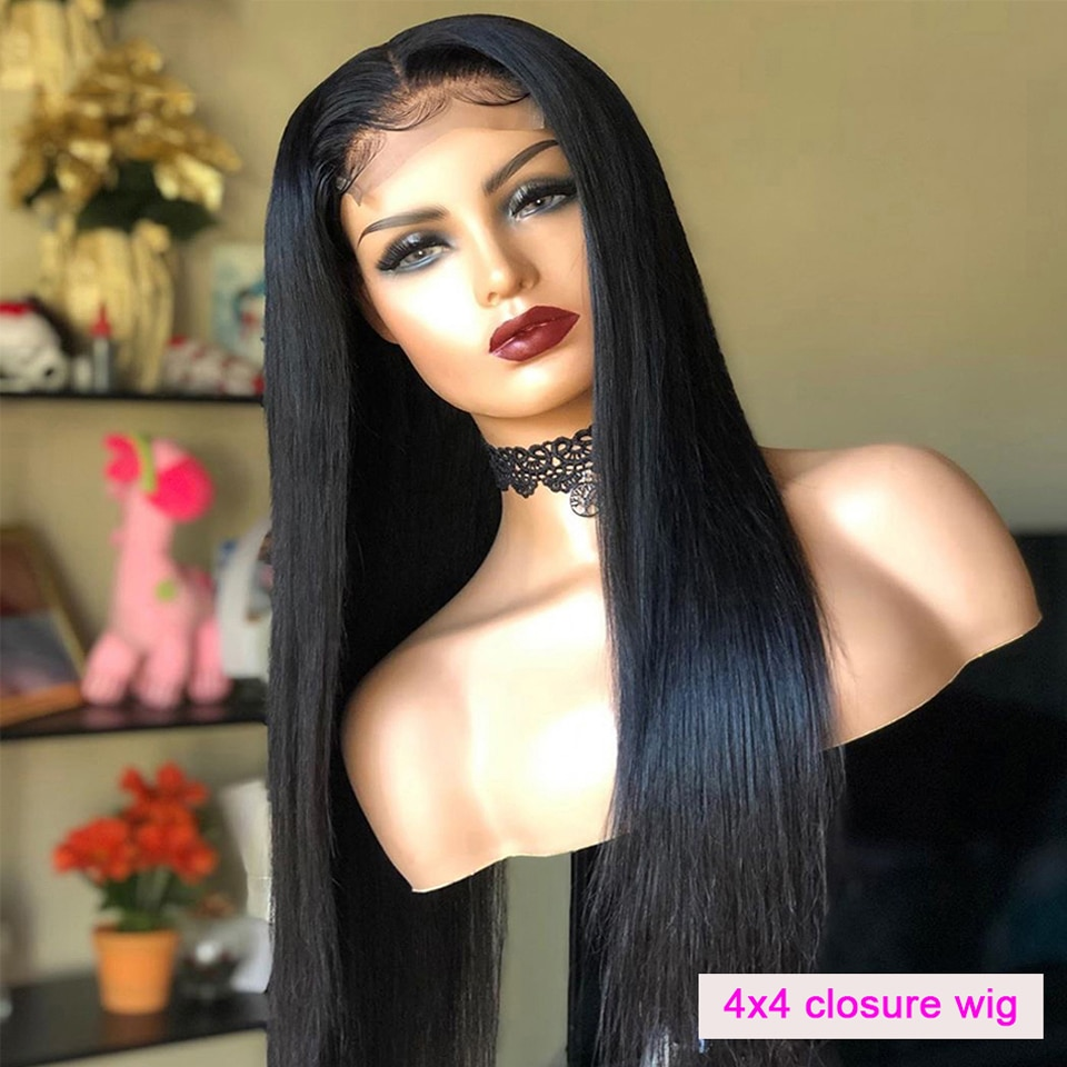 YUANMEI 4x4 Lace Closure Wig Bone Straight Lace Front Wig 30 Inch Lace Frontal Wigs For Women Human Hair Wigs