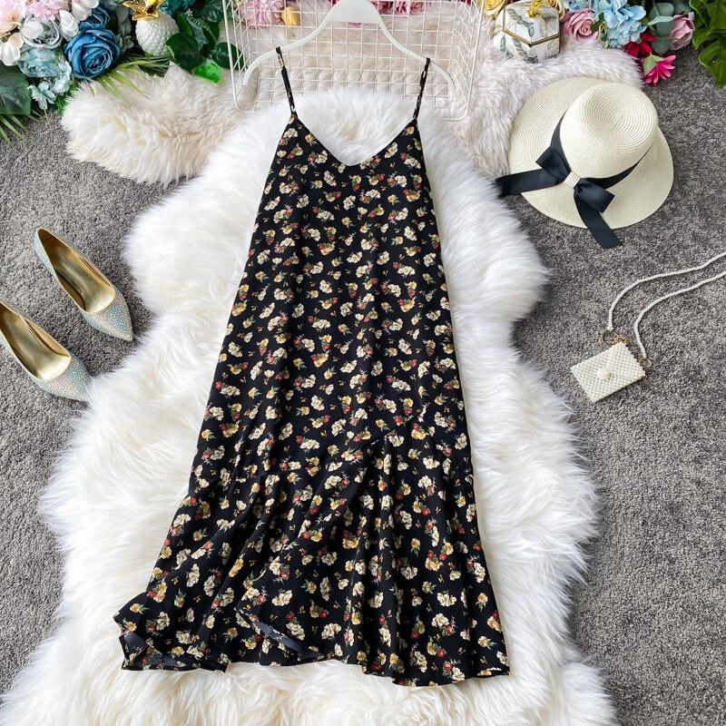 Fashion Fish tail 2020 floral print ruffles V Neck Dress summer Party Women beach holiday Loose waistcoat dress