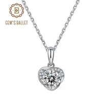 gems ballet 925 sterling silver heart necklace for women 6 5mm 1 0ct d color moissanite diamond pendant wedding jewelry