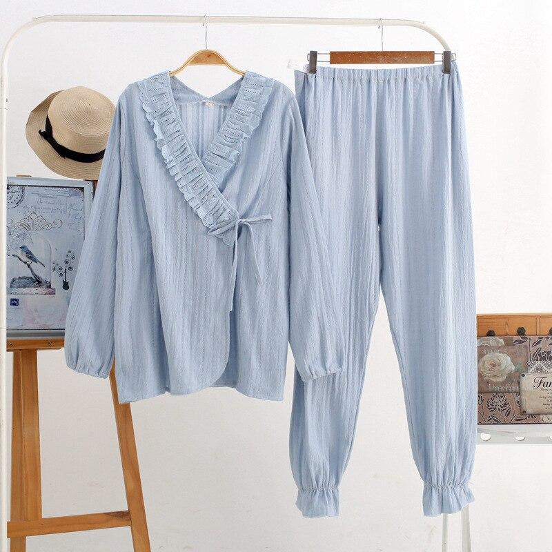 Fdfklak Cotton 2PCS Nursing Mothers Clothes Pregnancy Pijama Nightie Maternity Pajamas New Long Sleeve Nursing Sleepwear enlarge