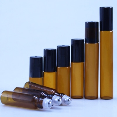 20pcs/lot 3ml 5ml 10m Amber Glass Roll on Bottle with Glass/Metal Ball Brown Thin Glass Roller Essen