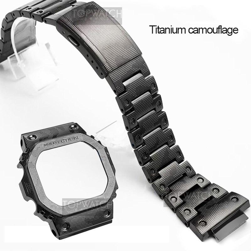 NEW Camouflage Titanium Alloy Watch Strap for DW5600 GW5600 DW5000/5035 Watch Case Watch Bezel for GW-M5610 Watch Band enlarge