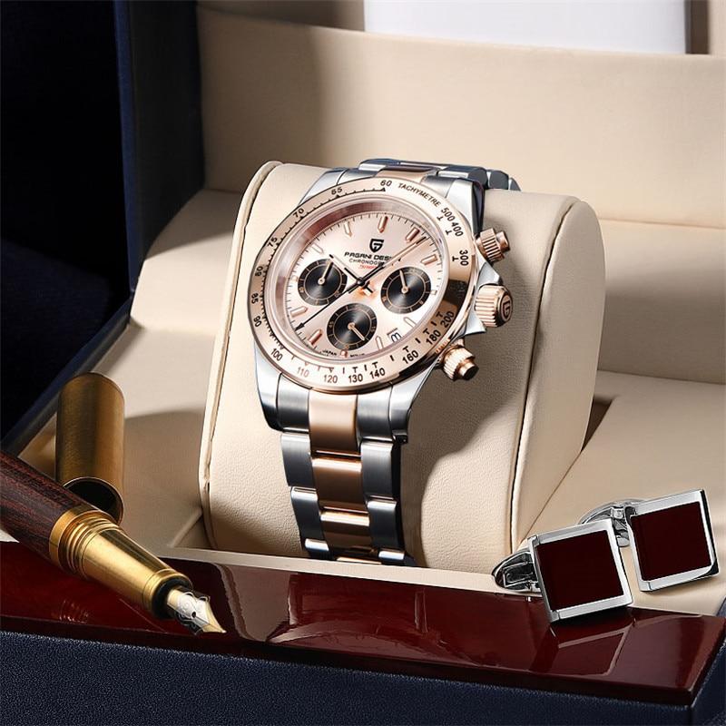 PAGANI DESIGN Men Watch Top Brand Luxury Sapphire Stainless Steel Waterproof Fashion Military Sports Chronograph