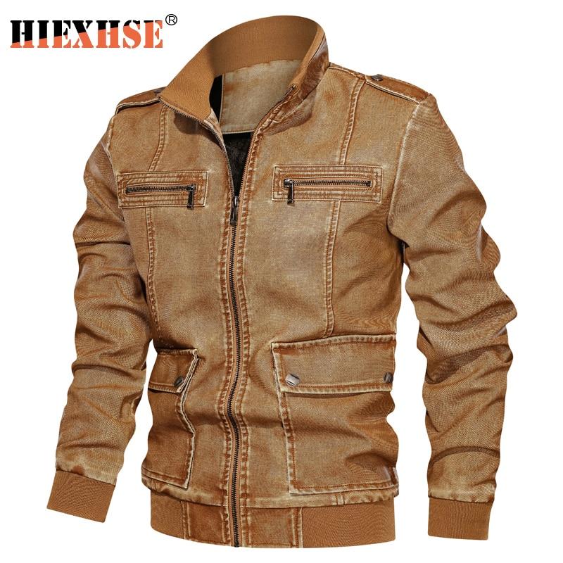 Mens Leather Jackets Washable Garments Motorcycle  Zipper Pockets Male US Size PU Coats Biker Faux Fashion