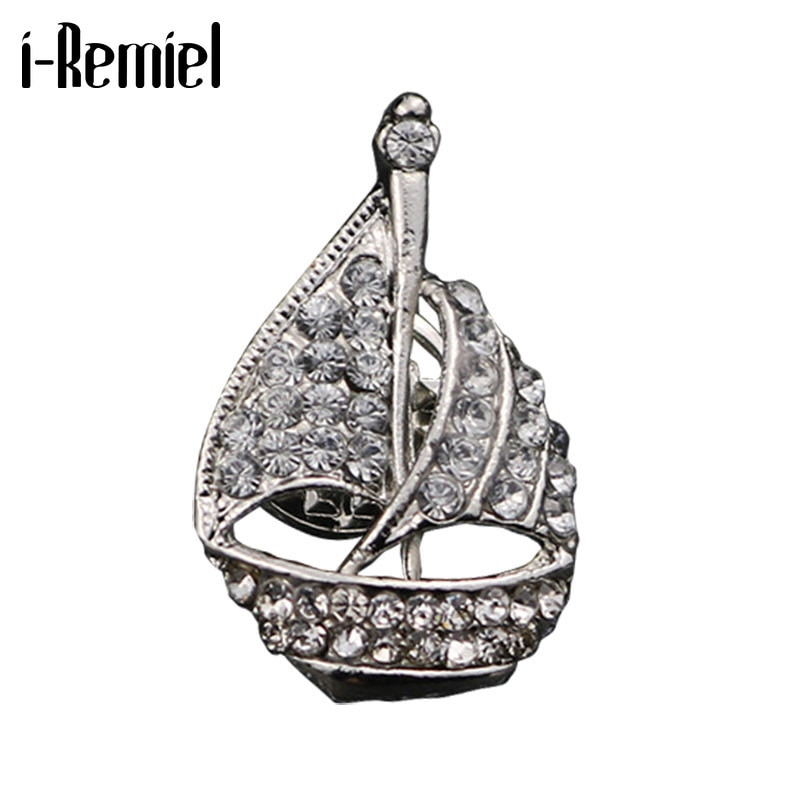 Moda nova metal cristal veleiro broche lapela pino para terno colar decoração navio emblema pinos roupas e acessórios