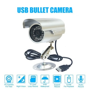CCTV Bullet Outdoor Waterproof DVR USB Camera 600TVL IR NightVision Security Micro SD/TF Card Recorder Camera +Camera Bracket