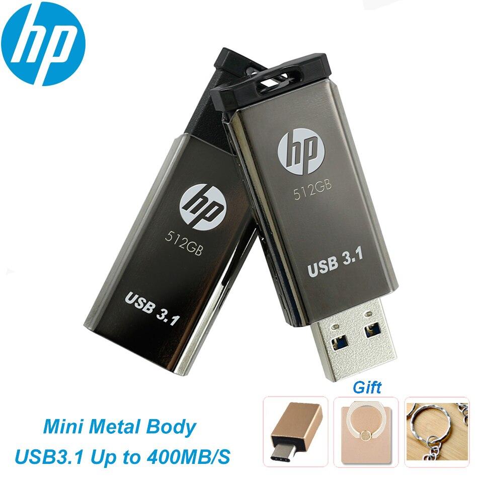 جديد HP X770W USB3.1 محرك فلاش usb 128GB 256GB 512GB المعادن بندريف 400 برميل/الثانية ذاكرة صغيرة عصا ذاكرة يو إس بي على شكل مفتاح لأجهزة الكمبيوتر المحمول اله...