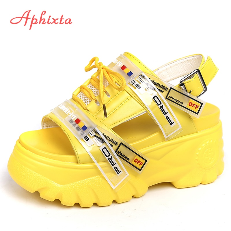 Aphixta 9cm Platform Sandals Women Wedge High Heels Shoes Women Buckle Lace-up Summer Zapatos Mujer Wedges Slippers Woman Sandal summer chunky sandals women 8cm wedge high heels shoes female buckle platform leather casual summer slippers woman sandal
