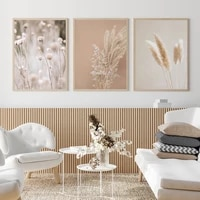 pampas grass plants landscape canvas painting prints dried grass modern boho botanical wall art pictures for poster room decor