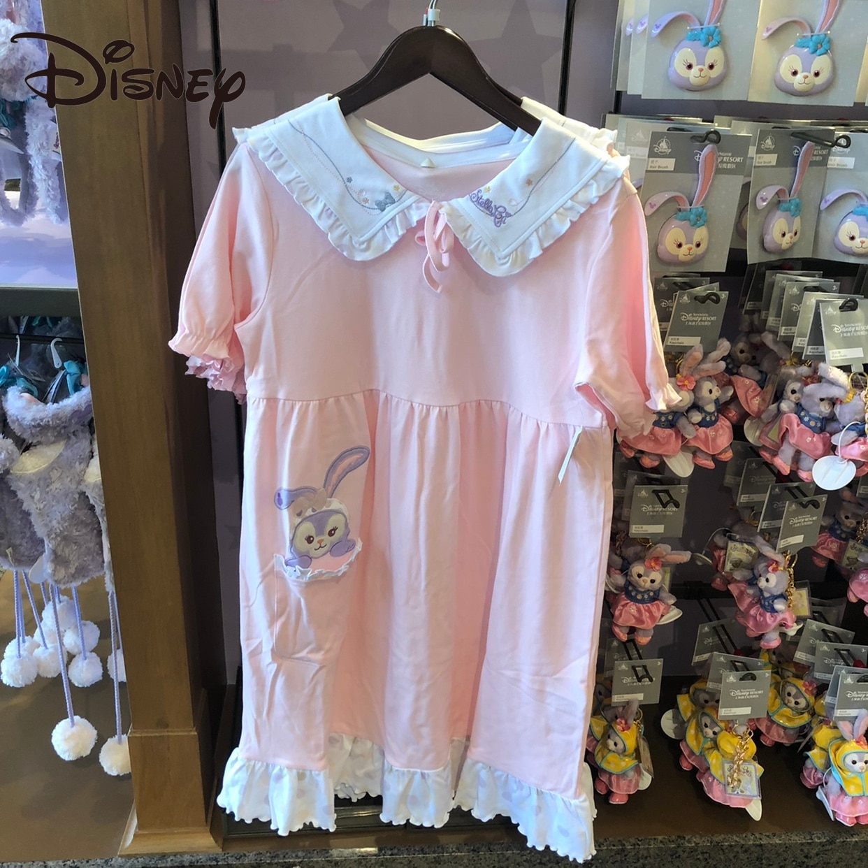 Disney StellaLou Pink Cute Cartoon Nightdress Knitted Home Wear Rabbit Nightdress Knee-Length long skirts for women