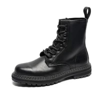 new black boots mens korean version fashion student all match mid top boots mens waterproof high top leather shoes