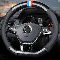 Car Steering Wheel Cover D/O Ring Leather For Volkswagen Golf 7 Mk7 R Passat Polo Scirocco For Audi TT Kia Sportage K5 37/38 CM