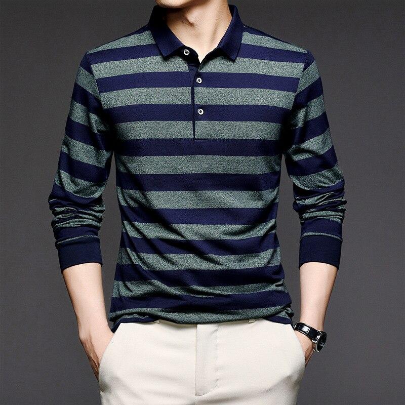 تي شيرت رجالي بأكمام طويلة ، قميص بولو مخطط عريض عصري ، قميص يمكن تنسيقه مع كل الملابس