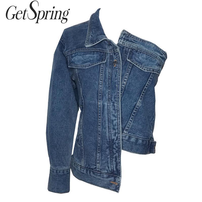 Abrigo para mujer Getspring, chaqueta vaquera para mujer, abrigos asimétricos de vaquero corto, asimetría, abrigo corto holgado Casual, 2019 nuevo