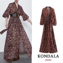 Women dress za 2020 vintage chiffon V-neck bow sashes  A-line floral print dress long sleeve ankle-length dresses female vestido