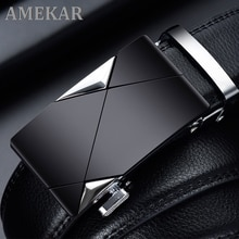 2021 Men Belt Male Genuine Leather Strap Belts For Men Top Quality Automatic Buckle black Belts Cumm