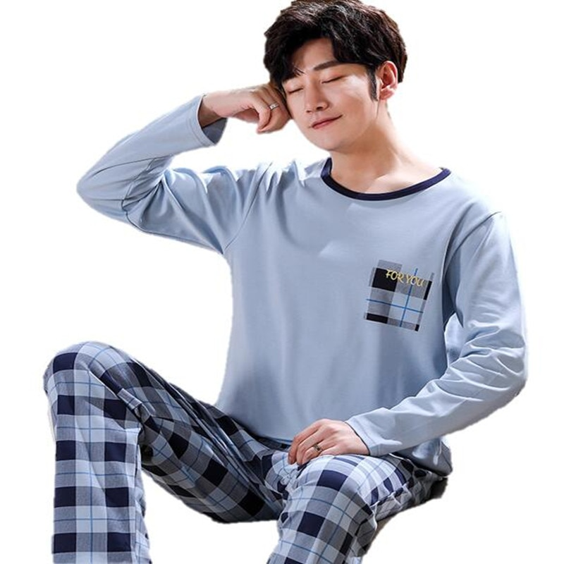 Spring And Autumn Mens Pyjamas Cotton Pajamas Long-sleeve Casual Men Pajama Set Plus Size L-4XL Sleepwear