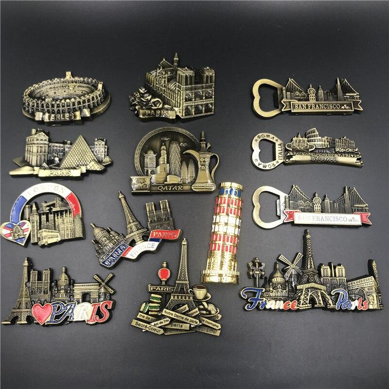 Mundo creativo souvenir metal refrigerador pasta 3d magnético Gran Bretaña Italia Roma catar Pisa Torre recuerdo imán de nevera regalo
