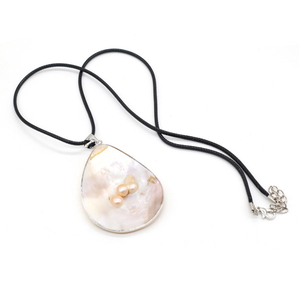 Natural Shell Pearl Mother of Pearl Shell Pendants Charms Wax Thread Necklace for Women Gift Size 40x60mm Length 55cm  - buy with discount