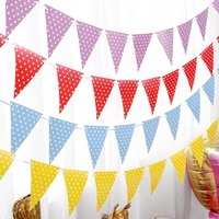 party decoration bunting holiday triangle pull flag party layout banner baby birthday wave dot bunting decoration scene layout
