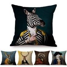 Nordic Art Posters Style Decorative Cushion Cover Zebra Giraffe Elephant Horse Fashion Animal Wearing Hat Sofa Throw Pillow Case