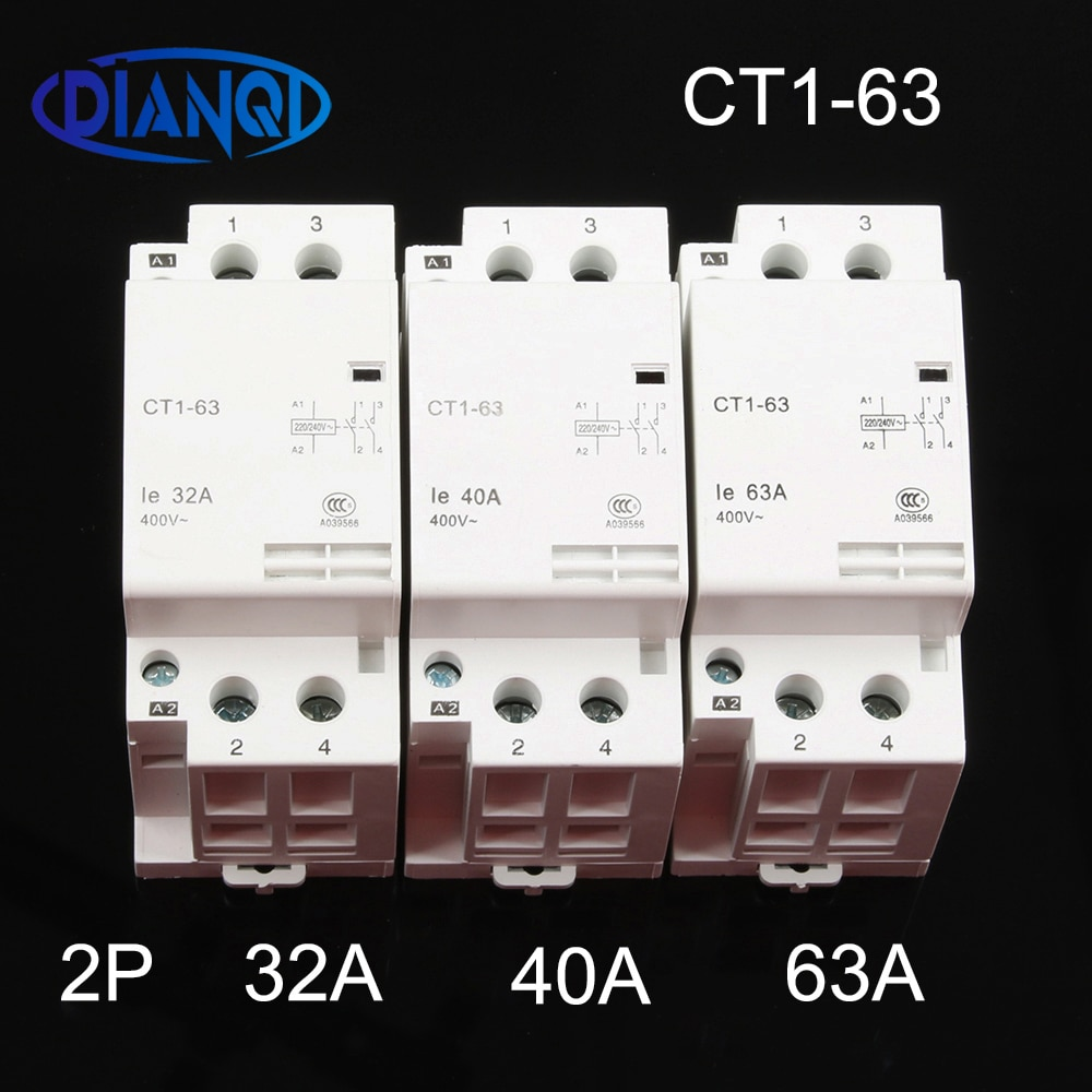 CT1-63 32A 40A 63A 2P 220V/230V 50/60HZ, carril Din hogar ac contactor...