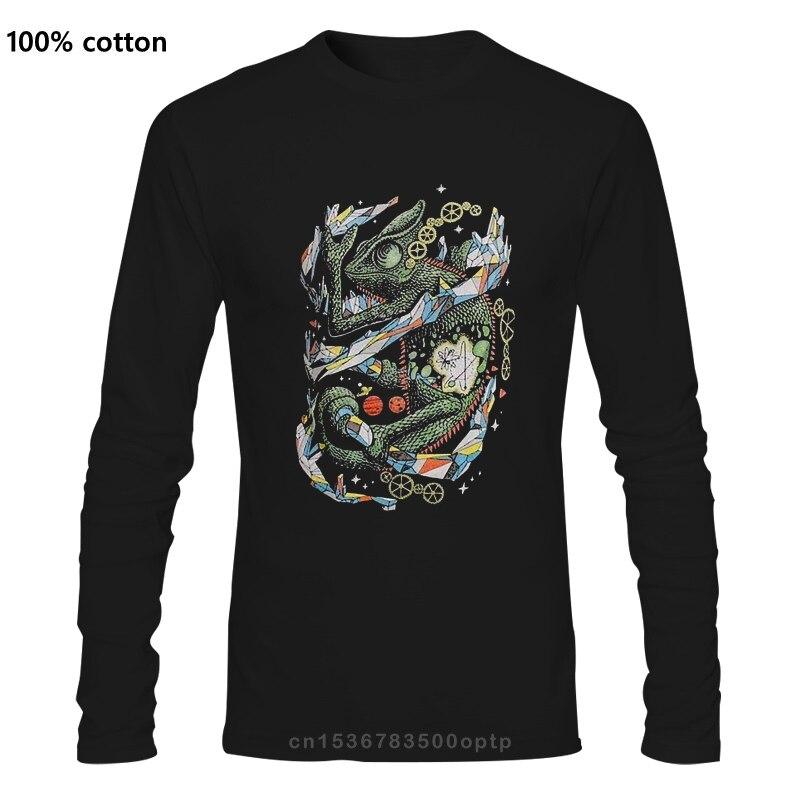 Camaleão multicolorido em heather navy triblend camisa masculina t
